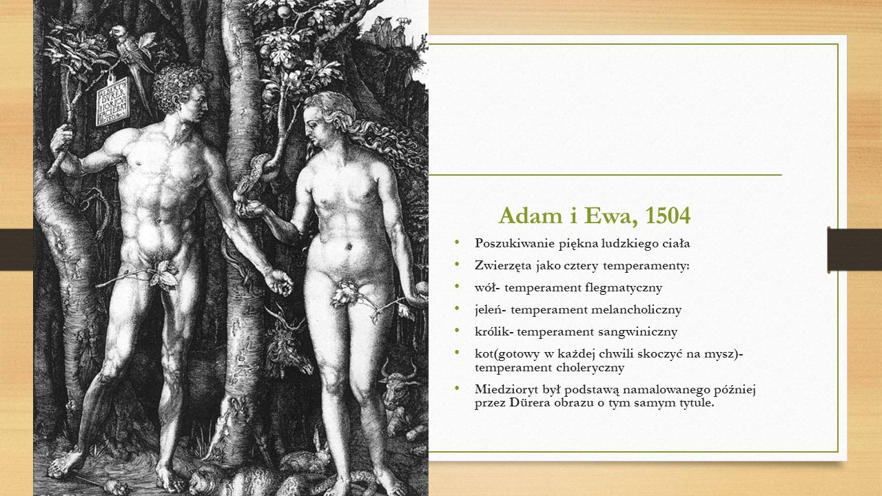 Adam i Ewa, 1504 Poszukiwanie piękna ludzkiego ciała
