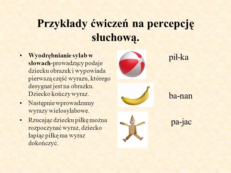 Przykłady ćwiczeń na percepcję słuchową.