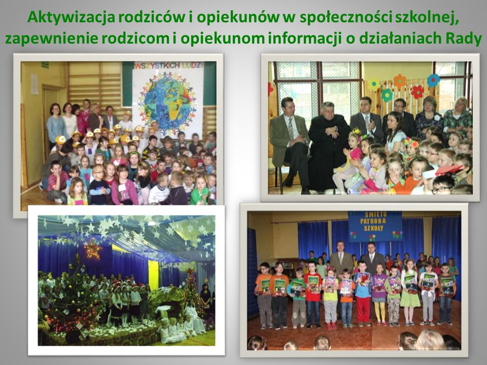 Aktywizacja rodziców i opiekunów w społeczności szkolnej, zapewnienie rodzicom i opiekunom informacji o działaniach Rady