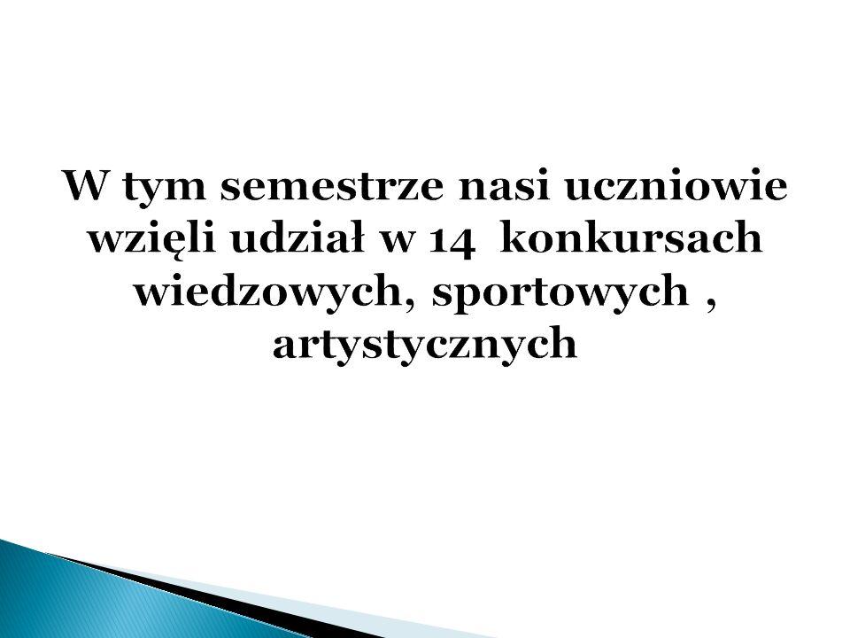 W tym semestrze nasi uczniowie wzięli udział w 14 konkursach wiedzowych, sportowych , artystycznych