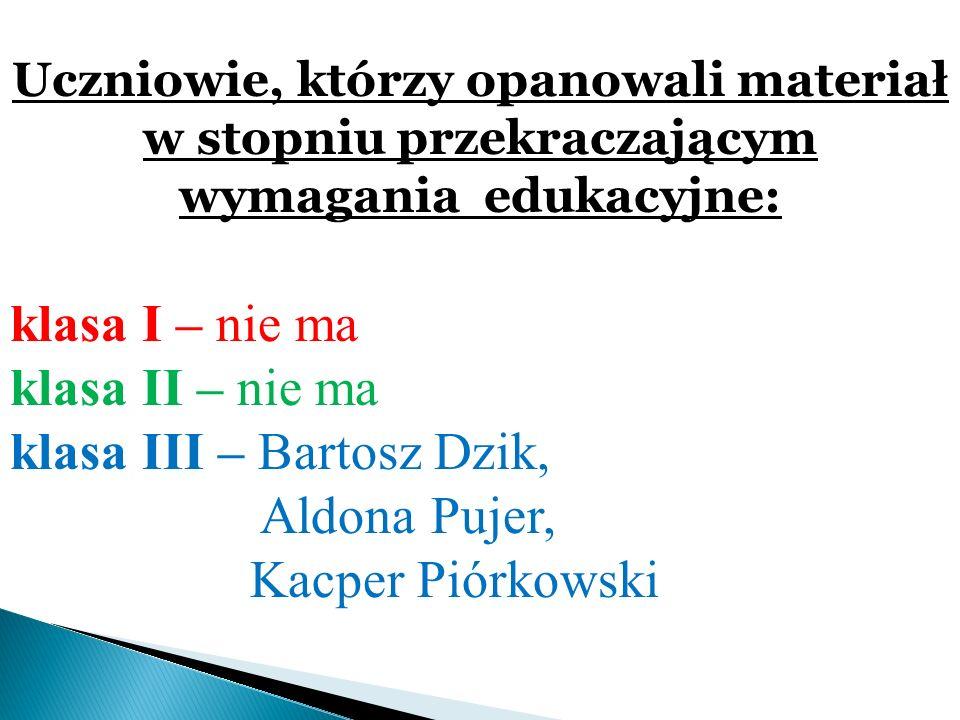 klasa III – Bartosz Dzik, Aldona Pujer, Kacper Piórkowski
