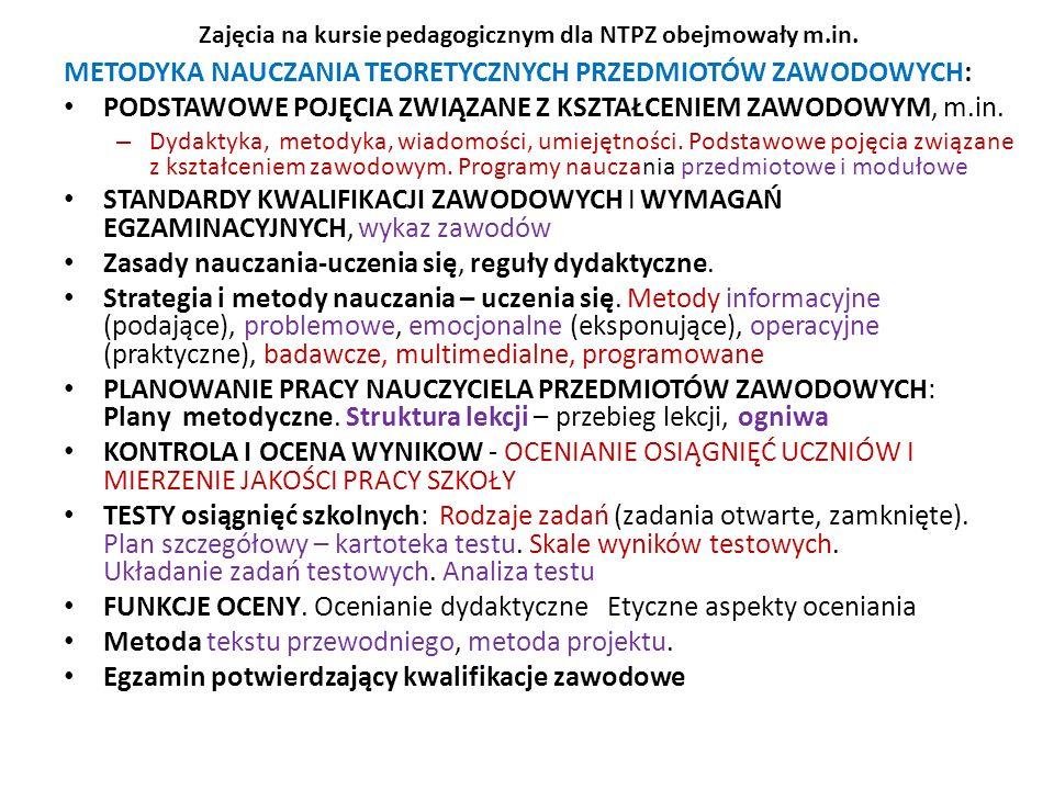 Zajęcia na kursie pedagogicznym dla NTPZ obejmowały m.in.
