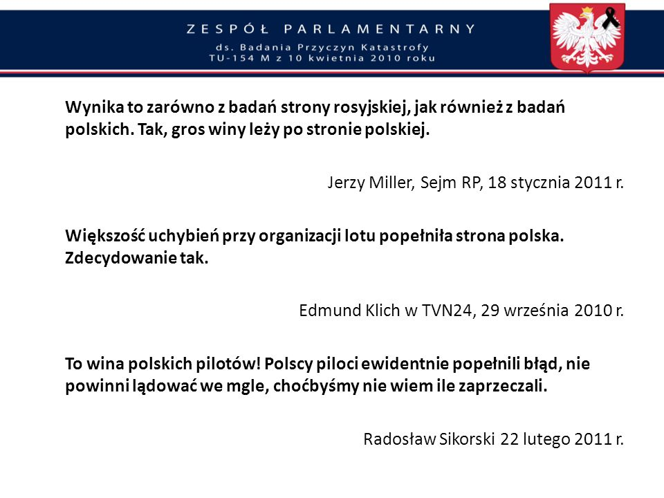 Jerzy Miller, Sejm RP, 18 stycznia 2011 r.