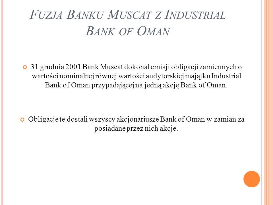 Fuzja Banku Muscat z Industrial Bank of Oman