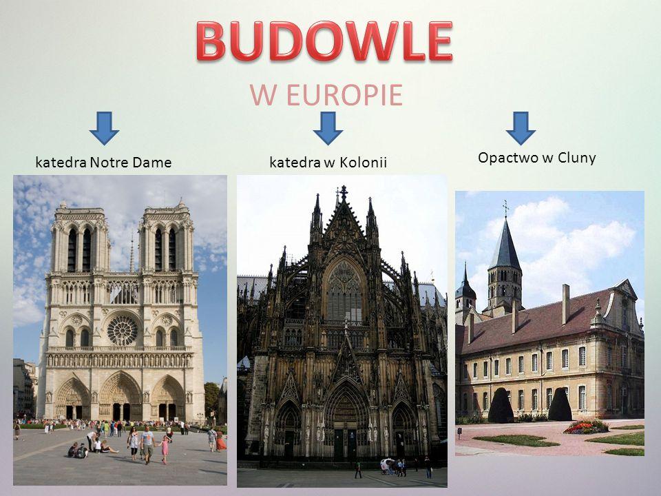BUDOWLE W EUROPIE Opactwo w Cluny katedra Notre Dame katedra w Kolonii