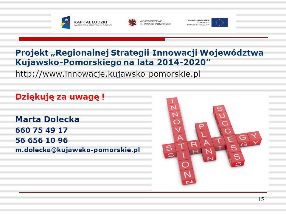 """Projekt """"Regionalnej Strategii Innowacji Województwa Kujawsko-Pomorskiego na lata 2014-2020"""