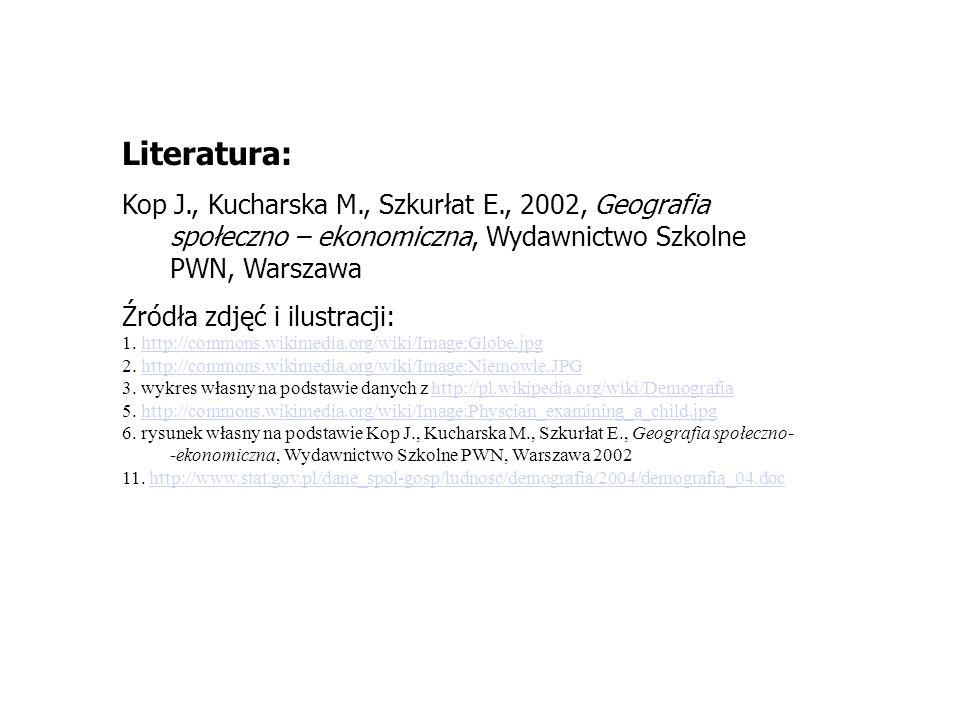 Literatura: Kop J., Kucharska M., Szkurłat E., 2002, Geografia społeczno – ekonomiczna, Wydawnictwo Szkolne PWN, Warszawa.
