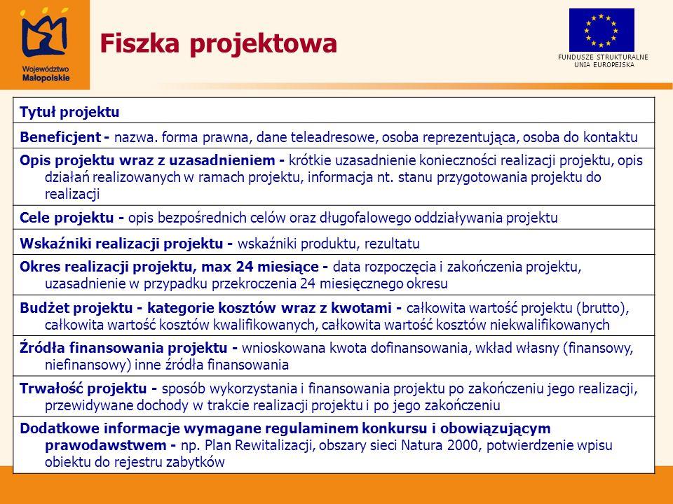 Fiszka projektowa Tytuł projektu