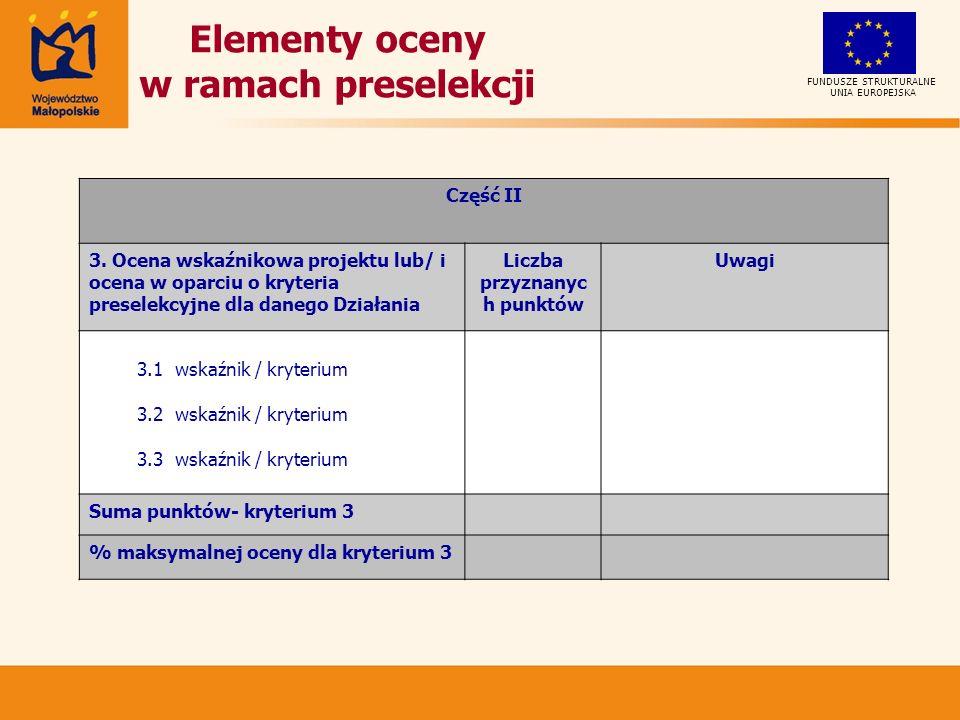 Elementy oceny w ramach preselekcji