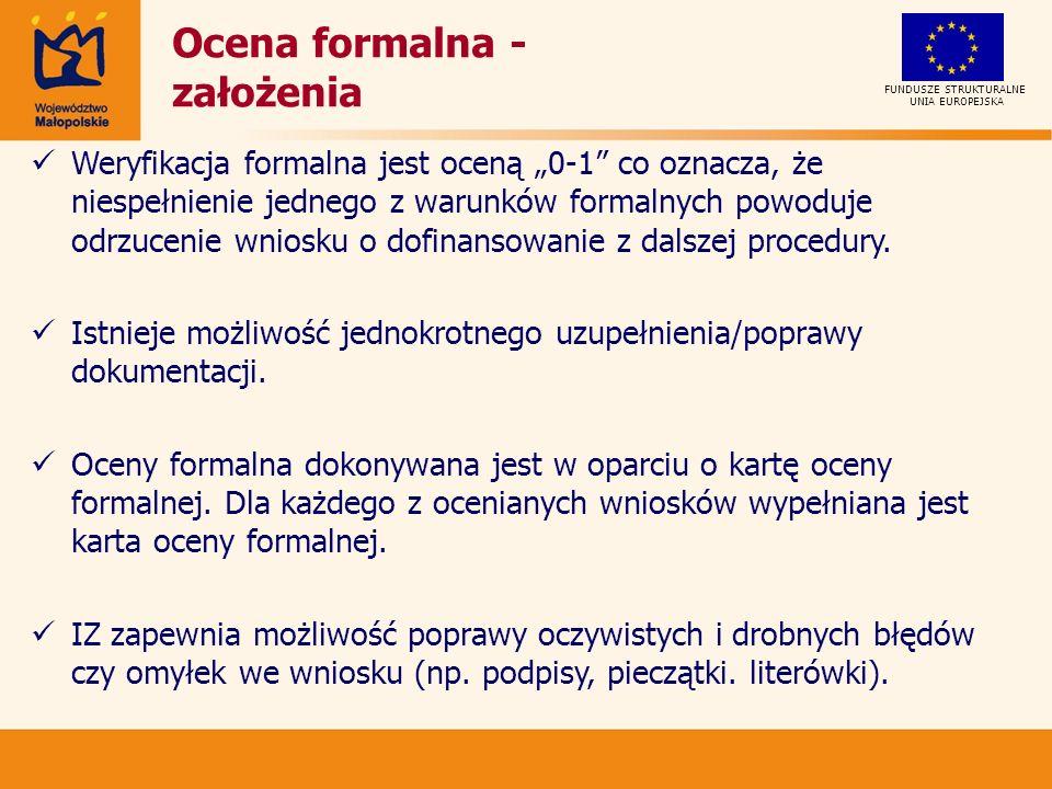 Ocena formalna - założenia