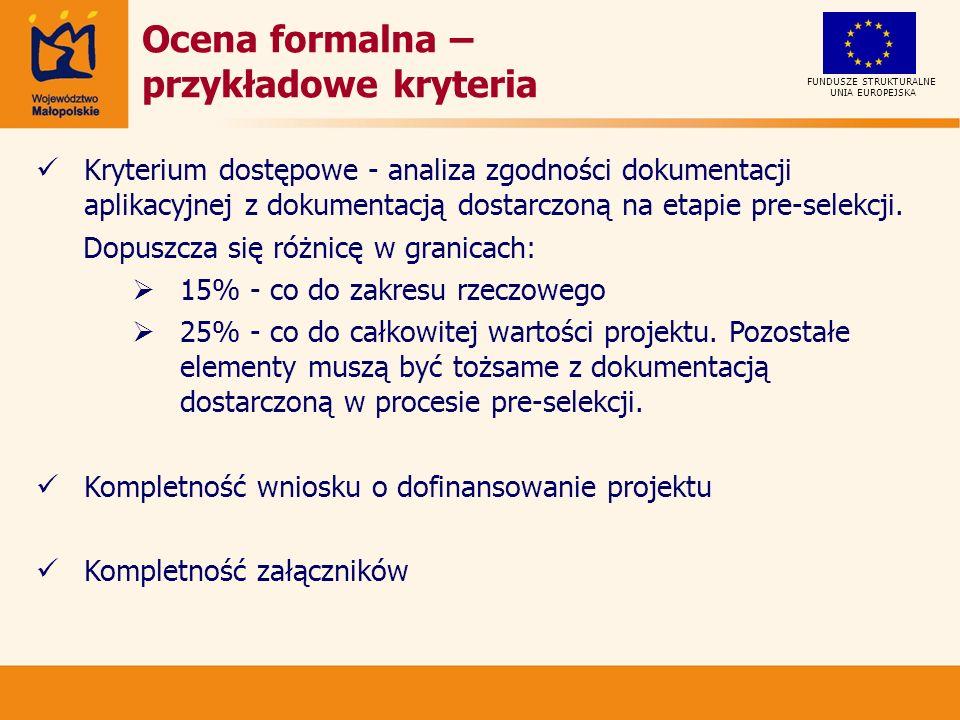 Ocena formalna – przykładowe kryteria