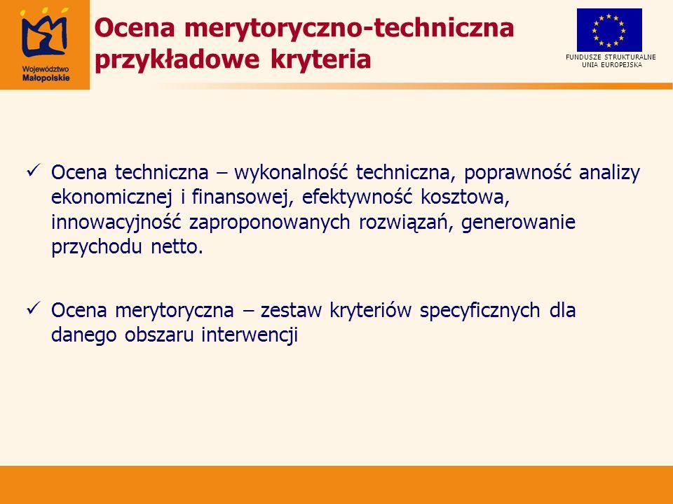 Ocena merytoryczno-techniczna przykładowe kryteria