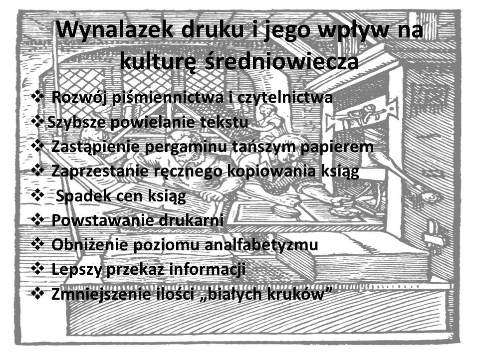 Wynalazek druku i jego wpływ na kulturę średniowiecza