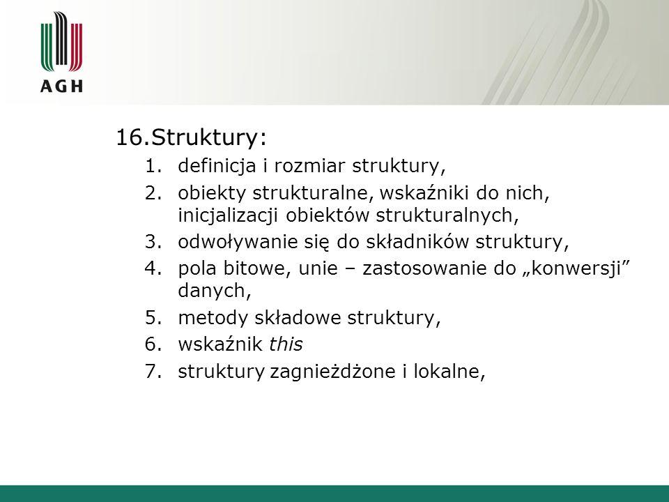 Struktury: definicja i rozmiar struktury,