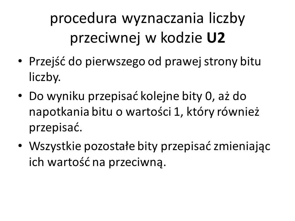 procedura wyznaczania liczby przeciwnej w kodzie U2