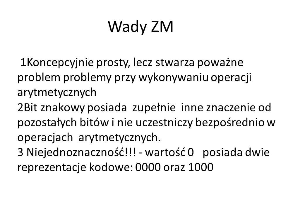 Wady ZM 1Koncepcyjnie prosty, lecz stwarza poważne problem problemy przy wykonywaniu operacji arytmetycznych.