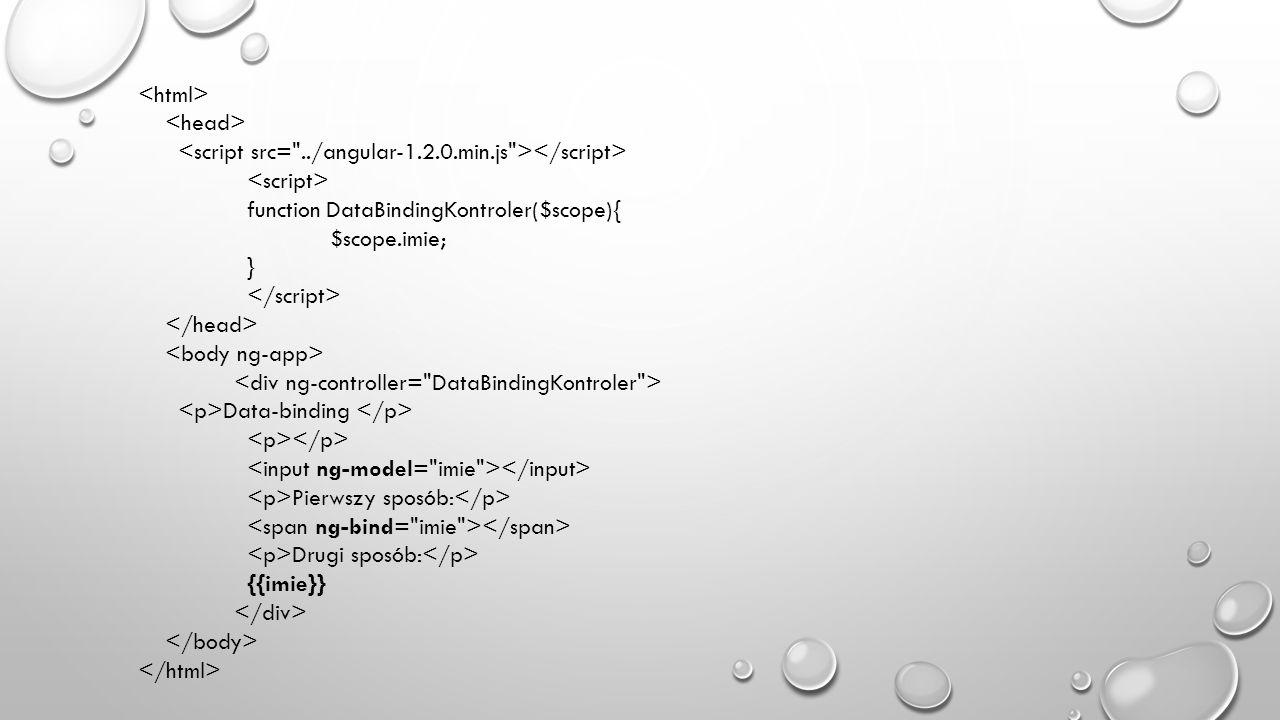 <html> <head> <script src= ../angular-1.2.0.min.js ></script> <script> function DataBindingKontroler($scope){