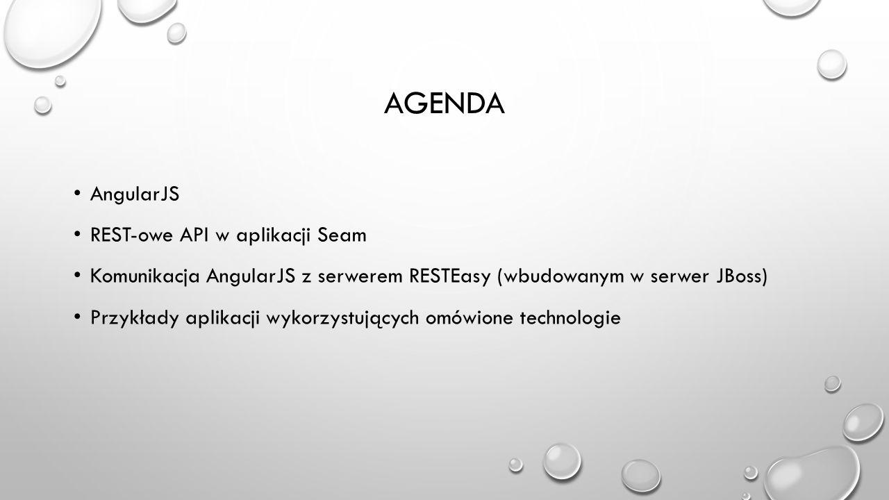Agenda AngularJS REST-owe API w aplikacji Seam