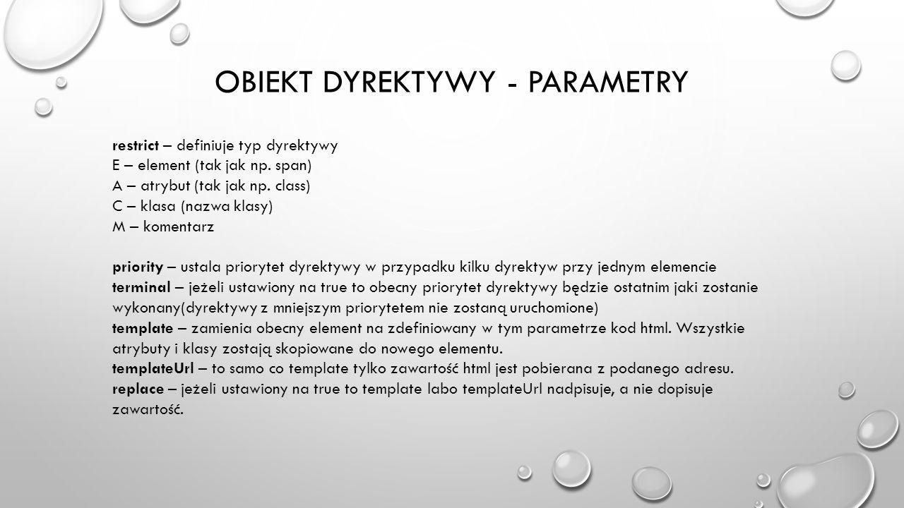 Obiekt dyrektywy - parametry