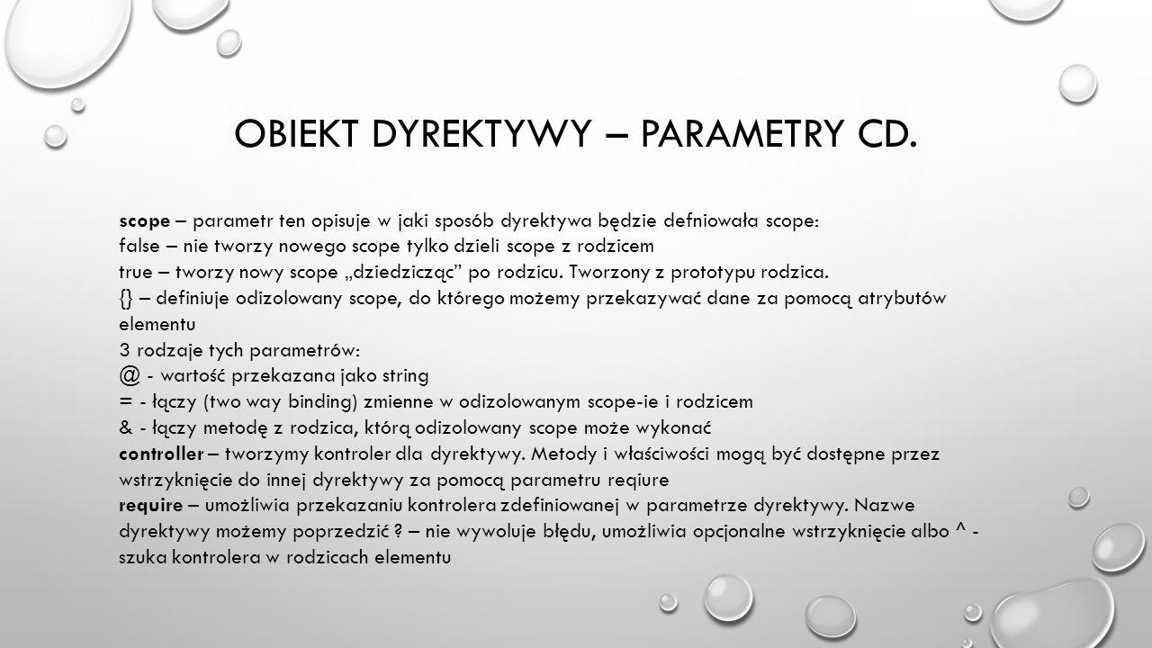 Obiekt dyrektywy – parametry cd.