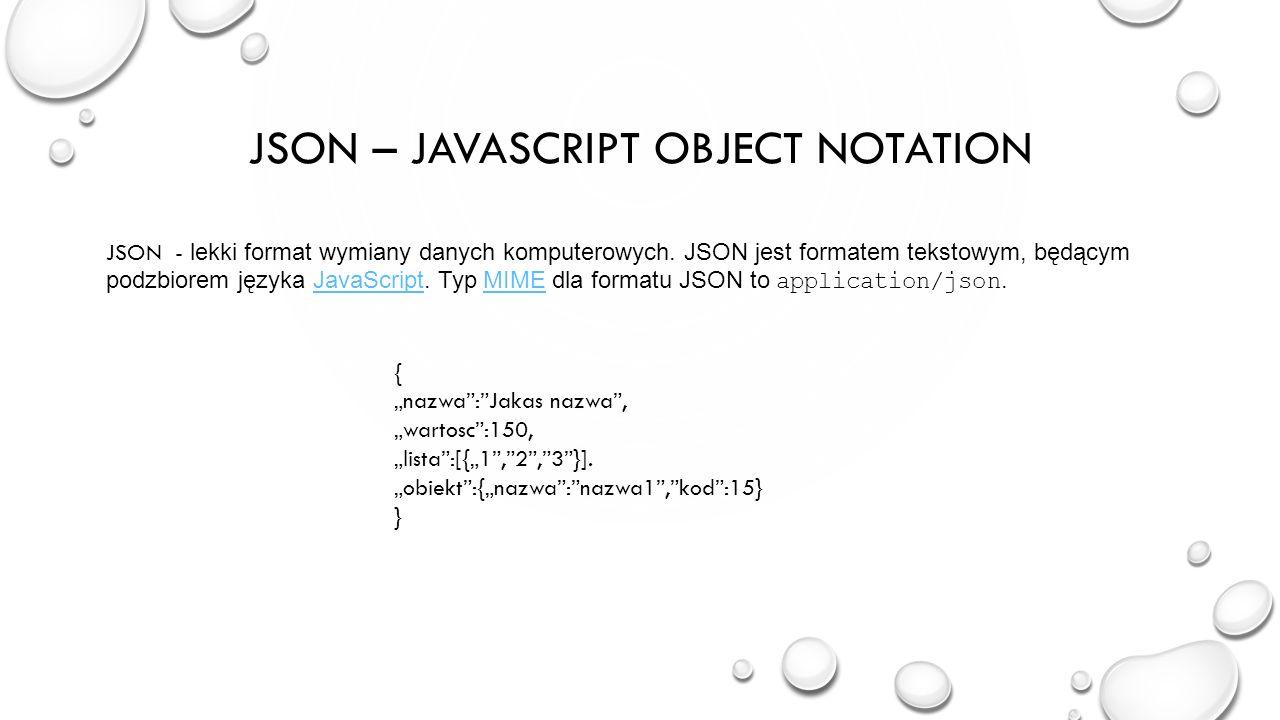 JSON – javascript object notation