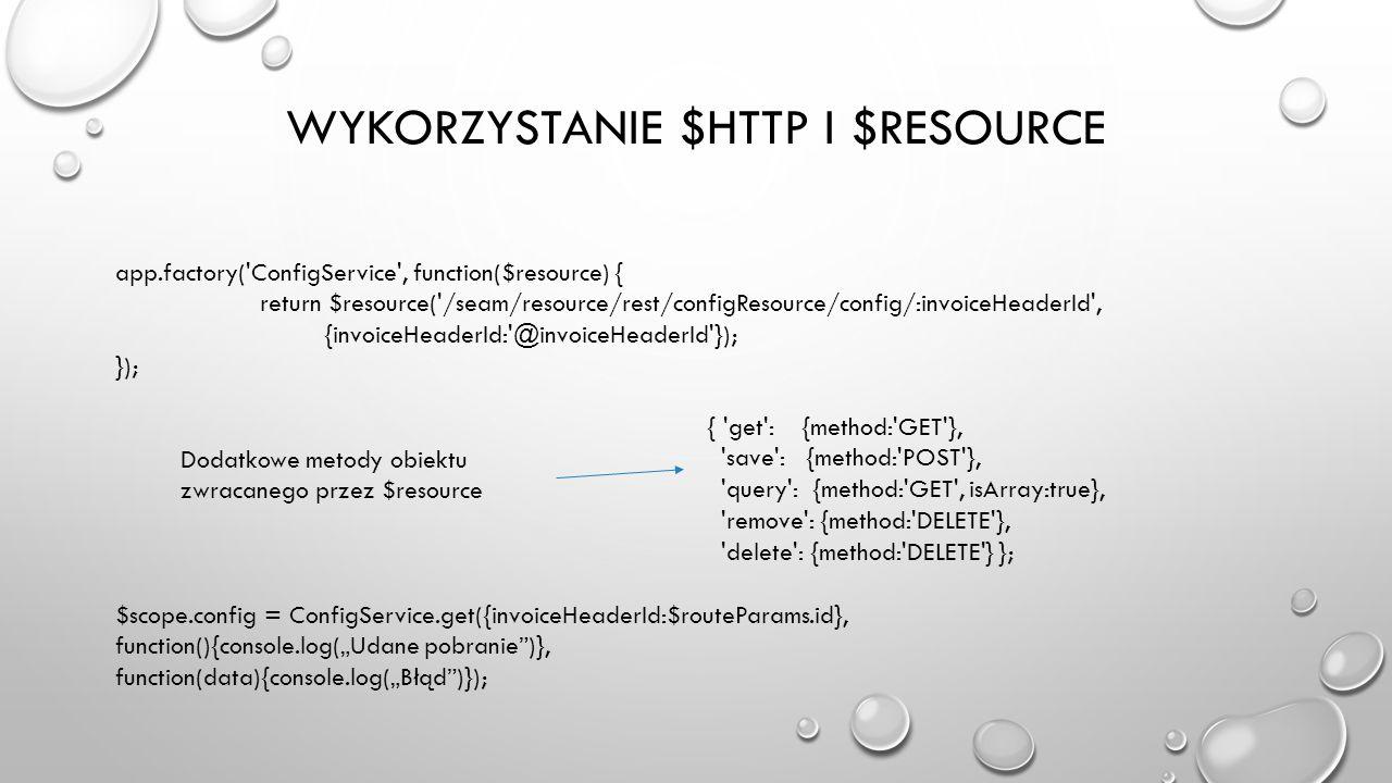 Wykorzystanie $http i $resource