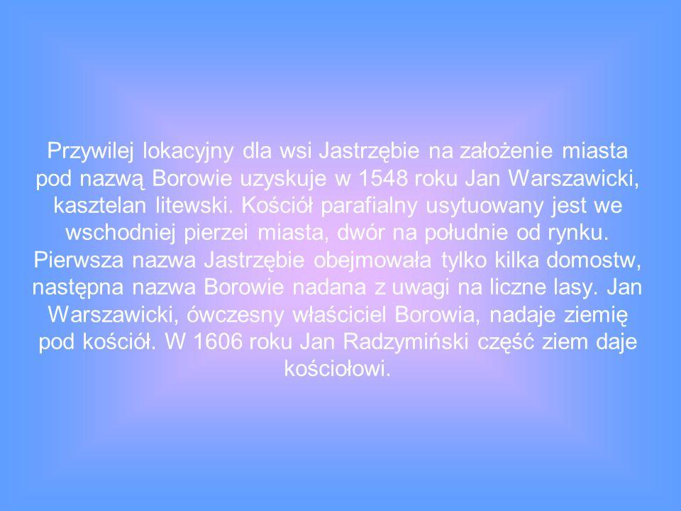 Przywilej lokacyjny dla wsi Jastrzębie na założenie miasta pod nazwą Borowie uzyskuje w 1548 roku Jan Warszawicki, kasztelan litewski.