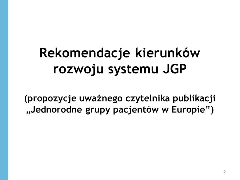 """Rekomendacje kierunków rozwoju systemu JGP (propozycje uważnego czytelnika publikacji """"Jednorodne grupy pacjentów w Europie )"""