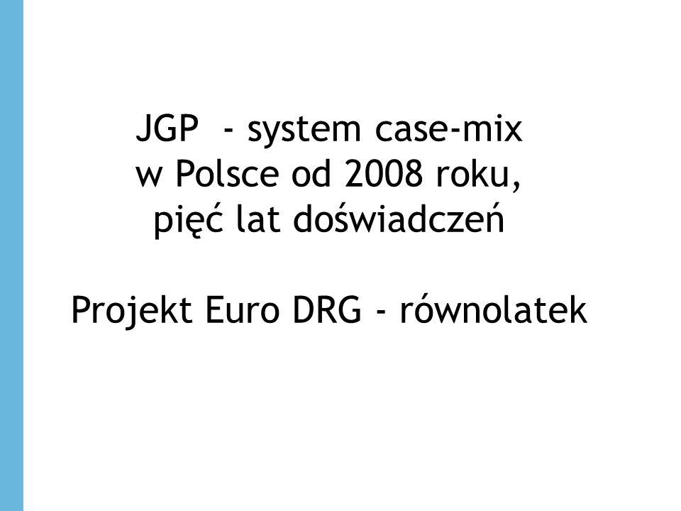 JGP - system case-mix w Polsce od 2008 roku, pięć lat doświadczeń Projekt Euro DRG - równolatek