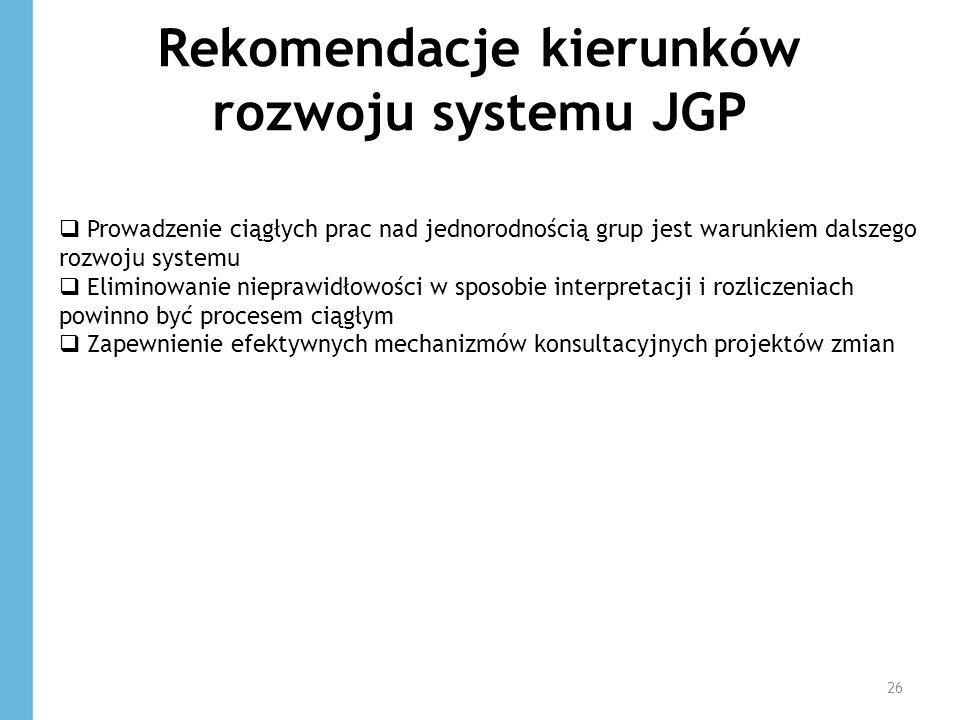 Rekomendacje kierunków rozwoju systemu JGP