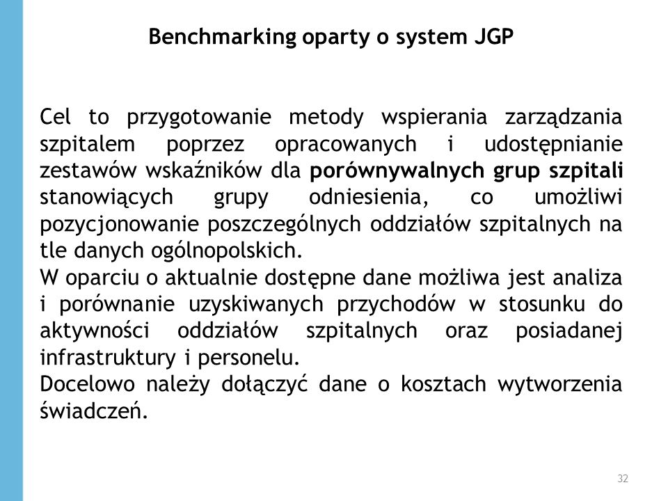 Benchmarking oparty o system JGP