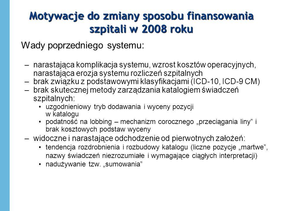 Motywacje do zmiany sposobu finansowania szpitali w 2008 roku