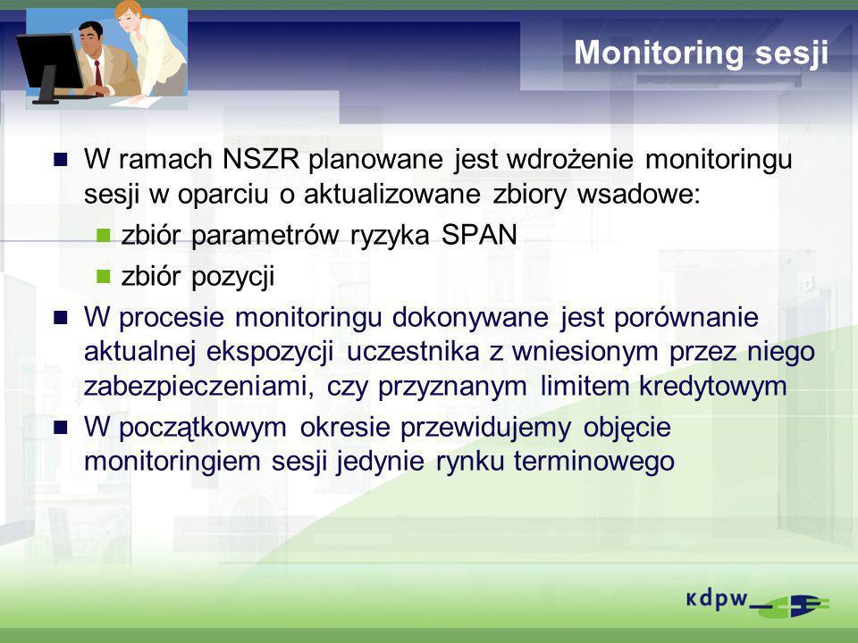 Monitoring sesji W ramach NSZR planowane jest wdrożenie monitoringu sesji w oparciu o aktualizowane zbiory wsadowe: