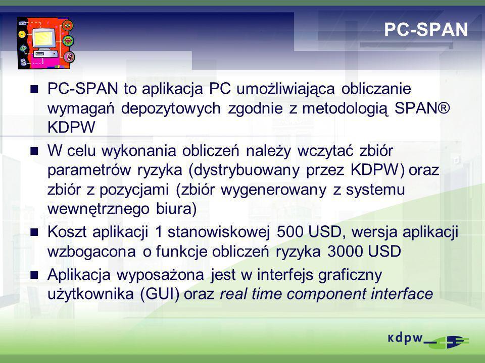 PC-SPAN PC-SPAN to aplikacja PC umożliwiająca obliczanie wymagań depozytowych zgodnie z metodologią SPAN® KDPW.
