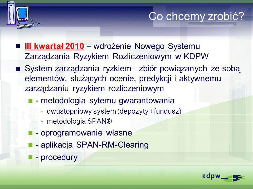 Co chcemy zrobić III kwartał 2010 – wdrożenie Nowego Systemu Zarządzania Ryzykiem Rozliczeniowym w KDPW.