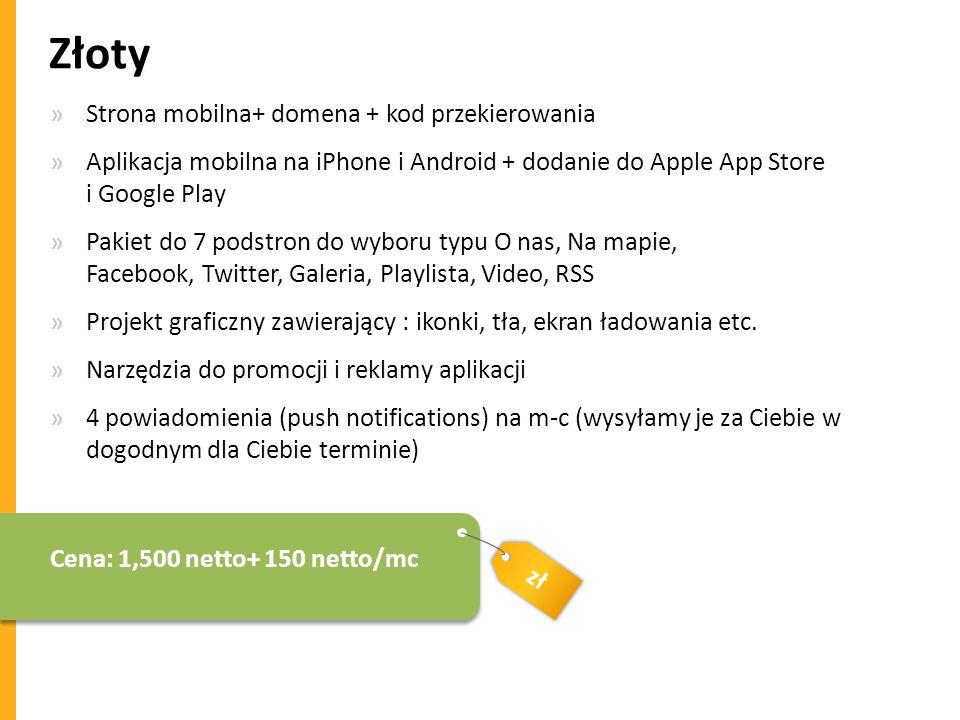 Złoty Strona mobilna+ domena + kod przekierowania