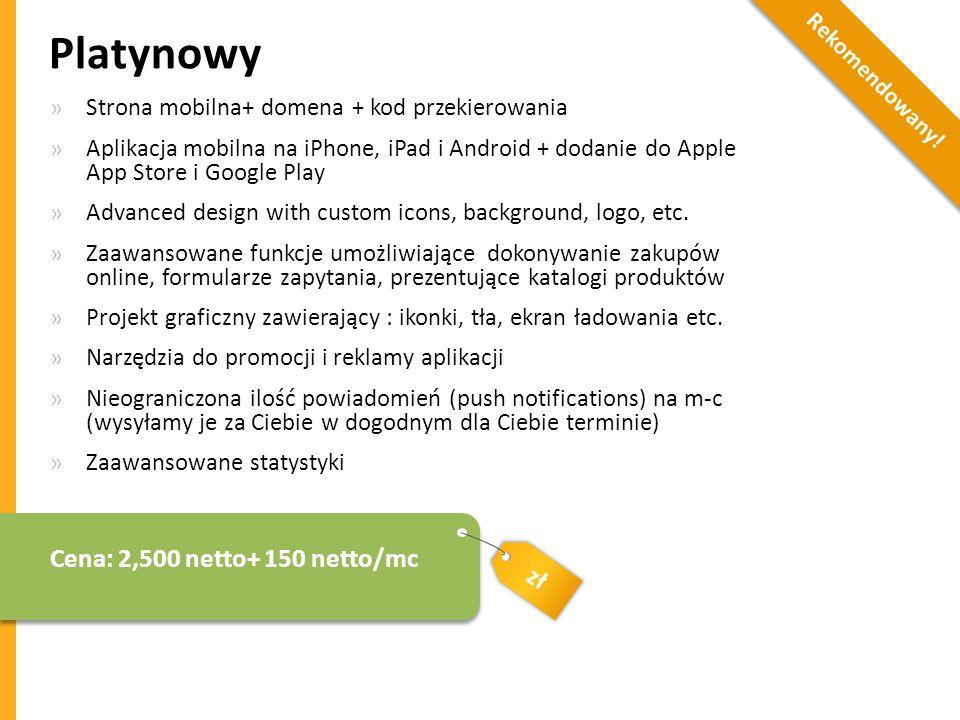 Platynowy Cena: 2,500 netto+ 150 netto/mc zł