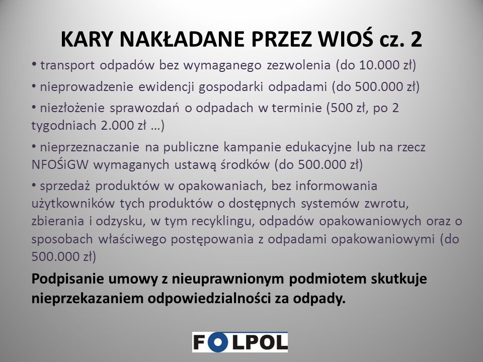 KARY NAKŁADANE PRZEZ WIOŚ cz. 2