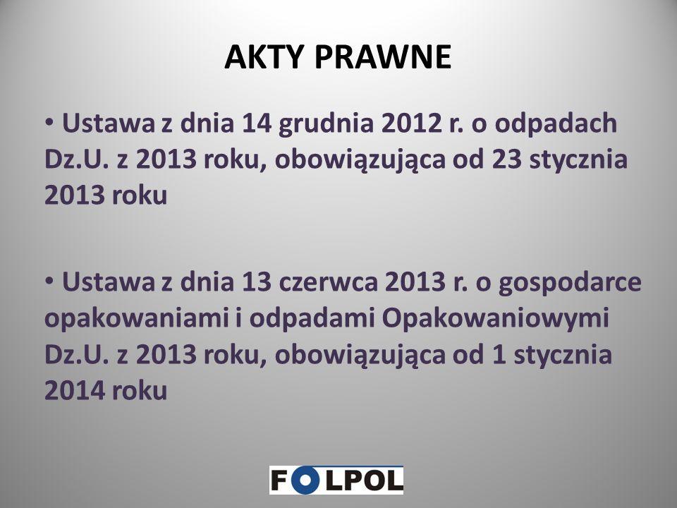 AKTY PRAWNE Ustawa z dnia 14 grudnia 2012 r. o odpadach Dz.U. z 2013 roku, obowiązująca od 23 stycznia 2013 roku.