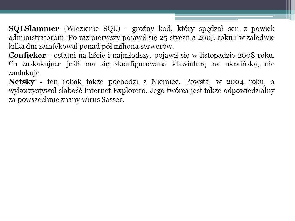 SQLSlammer (Wiezienie SQL) - groźny kod, który spędzał sen z powiek administratorom. Po raz pierwszy pojawił się 25 stycznia 2003 roku i w zaledwie kilka dni zainfekował ponad pół miliona serwerów.