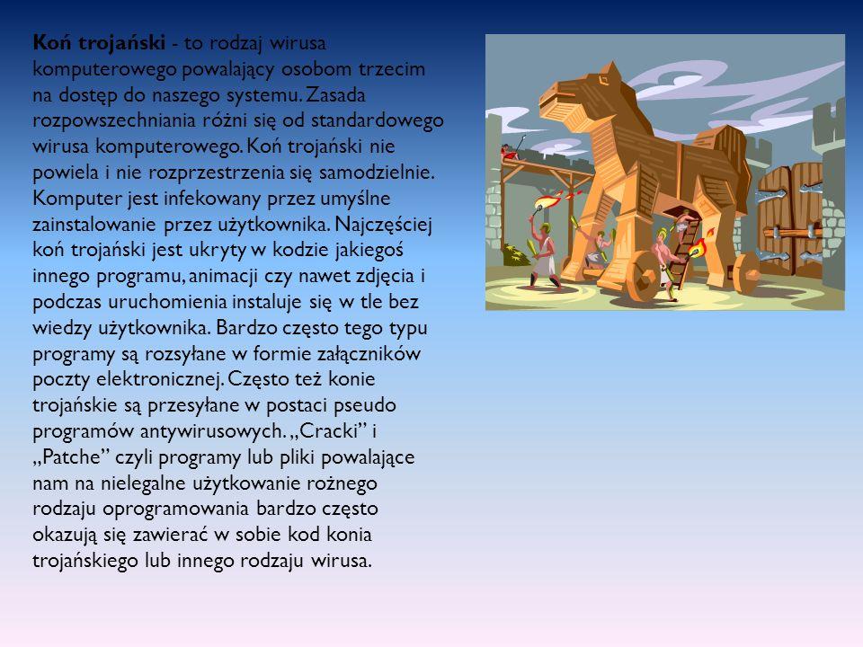 Koń trojański - to rodzaj wirusa komputerowego powalający osobom trzecim na dostęp do naszego systemu.