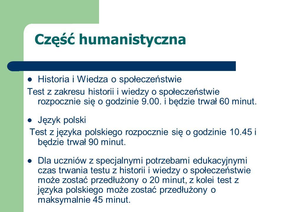 Część humanistyczna Historia i Wiedza o społeczeństwie