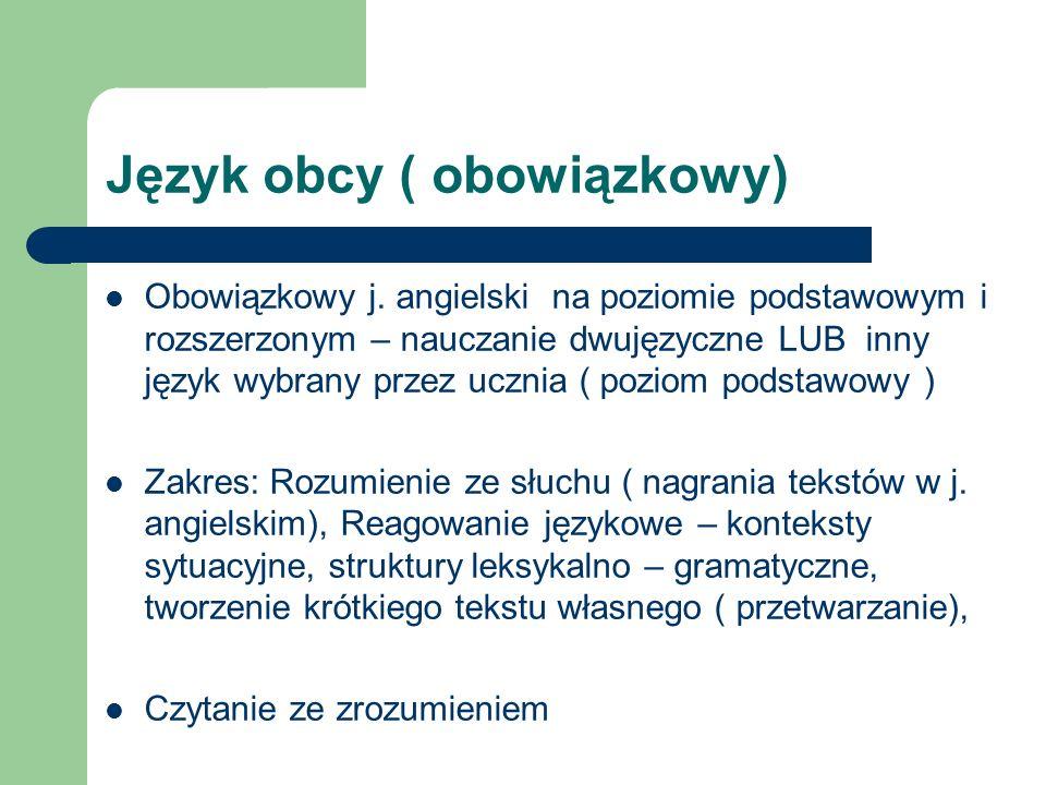 Język obcy ( obowiązkowy)