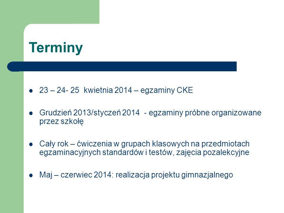 Terminy 23 – 24- 25 kwietnia 2014 – egzaminy CKE