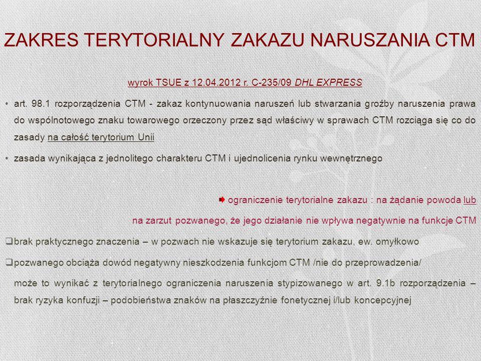 ZAKRES TERYTORIALNY ZAKAZU NARUSZANIA CTM