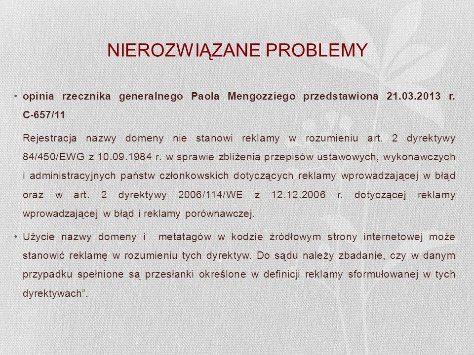 NIEROZWIĄZANE PROBLEMY