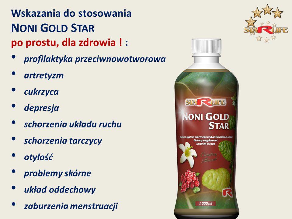 NONI GOLD STAR Wskazania do stosowania po prostu, dla zdrowia ! :