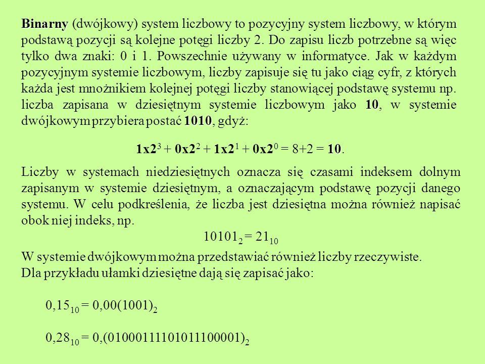Binarny (dwójkowy) system liczbowy to pozycyjny system liczbowy, w którym podstawą pozycji są kolejne potęgi liczby 2. Do zapisu liczb potrzebne są więc tylko dwa znaki: 0 i 1. Powszechnie używany w informatyce. Jak w każdym pozycyjnym systemie liczbowym, liczby zapisuje się tu jako ciąg cyfr, z których każda jest mnożnikiem kolejnej potęgi liczby stanowiącej podstawę systemu np. liczba zapisana w dziesiętnym systemie liczbowym jako 10, w systemie dwójkowym przybiera postać 1010, gdyż: