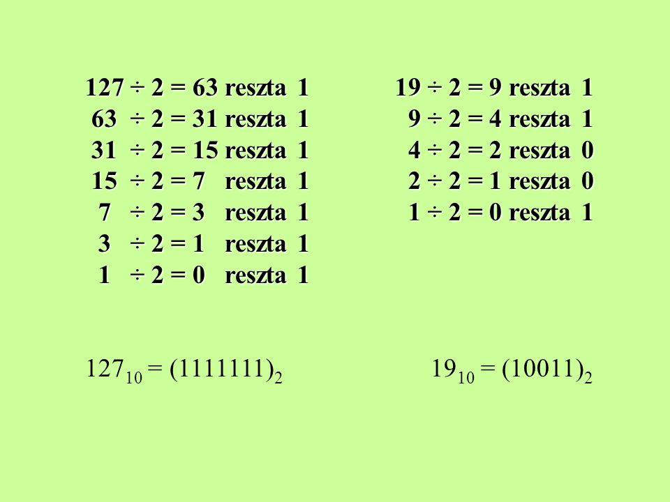 127 ÷ 2 = 63 reszta 1 19 ÷ 2 = 9 reszta 1 63 ÷ 2 = 31 reszta 1 9 ÷ 2 = 4 reszta 1 31 ÷ 2 = 15 reszta 1 4 ÷ 2 = 2 reszta 0 15 ÷ 2 = 7 reszta 1 2 ÷ 2 = 1 reszta 0 7 ÷ 2 = 3 reszta 1 1 ÷ 2 = 0 reszta 1 3 ÷ 2 = 1 reszta 1 1 ÷ 2 = 0 reszta 1