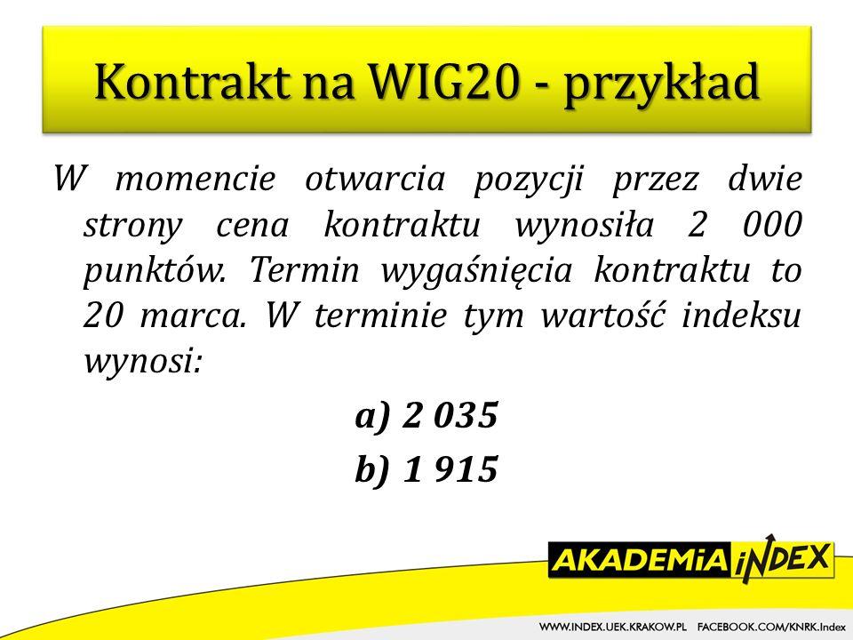 Kontrakt na WIG20 - przykład
